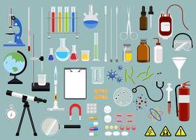Collection of scientific equipments icon illustration