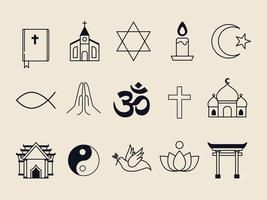 COllection of illustrated religious symbols