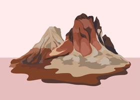 Painted mountain view landscape illustration