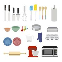 Collection of baking equipments set illustration