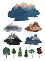 Collection d'illustrations de montagne et d'arbres