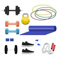 Collection of fitness equipment icons