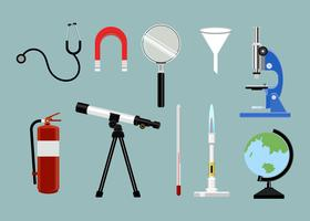 Collection of science study tools set illustration
