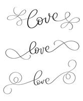Satz handgemachtes Vektorweinlesewort Liebe auf weißem Hintergrund. Kalligraphiebeschriftungsillustration EPS10
