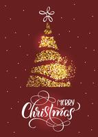 Merry Christmas text on on red holiday background with stilized fir tree and stars
