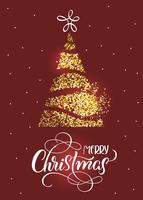 Texte de joyeux Noël sur fond de vacances rouge avec sapin stilized et étoiles