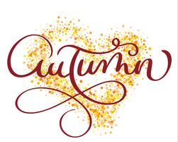 autumn word on gold background in form of heart. Vintage Hand drawn Calligraphy lettering Vector illustration EPS10