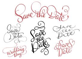 set of Save the date text on white background. Hand drawn Calligraphy lettering Vector illustration EPS10
