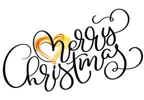 Texto de feriado feliz Natal com coração de ouro. Mão desenhada caligrafia letras ilustração vetorial Eps10