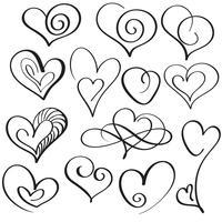 Conjunto de arte del corazón de la caligrafía para el diseño. Ilustración vectorial eps10