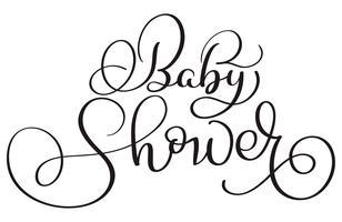 Texto da festa do bebé no fundo branco. Mão desenhada caligrafia letras ilustração vetorial Eps10