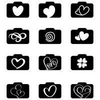 set di loghi icone di fotografia per matrimonio d'amore. Illustrazione vettoriale EPS10