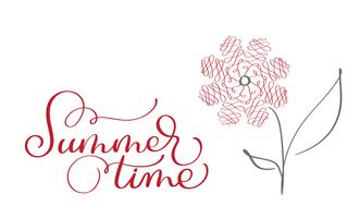 Summer Time vector vintage text on white background. Calligraphy lettering illustration EPS10