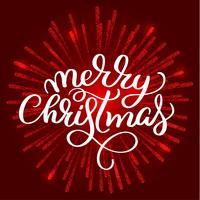 Texto branco do Feliz Natal sobre no fundo vermelho dos fogos-de-artifício. Mão desenhada caligrafia letras ilustração vetorial Eps10