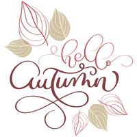 Hello autumn text and leaves on white background. Hand drawn Calligraphy lettering Vector illustration EPS10