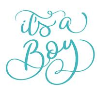its a boy text on white background. Hand drawn Calligraphy lettering Vector illustration EPS10