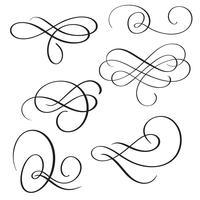 uppsättning av vintage blomstra dekorativa konst kalligrafi whorls för design. Vektor illustration EPS10