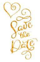 Save the date gold text with heart on white background. Hand drawn Calligraphy lettering Vector illustration EPS10