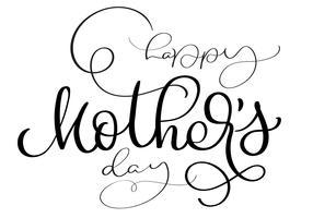 Testo d'annata di vettore felice di madri Day su fondo bianco. Illustrazione EPS10 dell'iscrizione di calligrafia