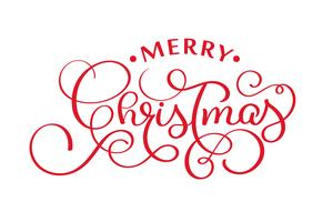 merry christmas red handwritten lettering inscription xmas holiday phrase, typography banner with brush script, calligraphy vector illustration
