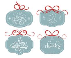 vector collection of bright stickers, emblems and banners with calligraphy Christmas holiday text