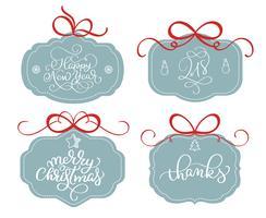 raccolta vettore di adesivi luminosi, emblemi e banner con testo di vacanze di Natale calligrafia