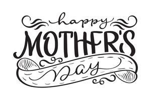 Happy Mothers Day zwarte vector moderne tekst. Kalligrafie belettering illustratie EPS10