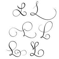 Conjunto de caligrafía de arte letra L con floritura de verticilos decorativos. Ilustración vectorial eps10