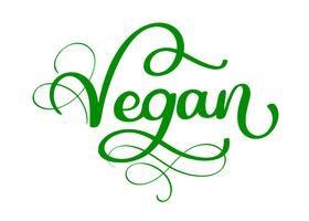 Letras de caligrafía escrita mano vegano con hoja para diseño de menú de café. Pincel para rotulación de elementos para etiquetas, logos, distintivos. Menú vegano. Ilustración vectorial