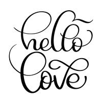 hello love text on white background. Hand drawn Calligraphy lettering Vector illustration EPS10