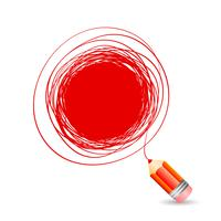 Hand drawn bubble for text, draws a red pencil