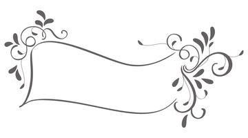 cadre abstrait de vintage laisse isolé sur fond. Illustration de calligraphie vectorielle EPS10