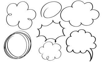 conjunto de quadro de doodle vintage de caligrafia floreio. Mão de ilustração vetorial desenhada 10 EPS