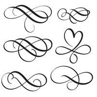 Satz von Vintage Flourish dekorative Kunst Kalligraphie Whorls für Text Vektorabbildung EPS10