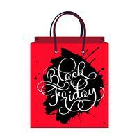 inskription svart fredag på paketet, Försäljning och rabatt. Vektor illustration