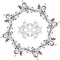 cadre rond de feuilles vintage isolé sur fond. Illustration de calligraphie vectorielle EPS10
