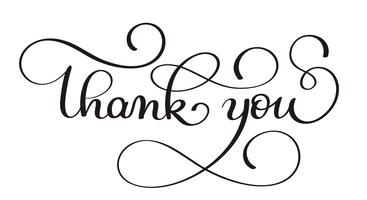 Thank you handwritten calligraphy vector text. dark brush pen lettering illustration isolated on white background