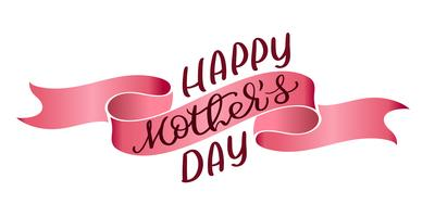 Happy Mothers Day vector vintage text on red ribbon background. Calligraphy lettering illustration EPS10