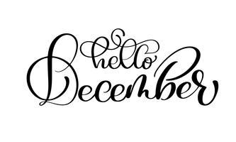 Übergeben Sie die gezogene Typografiebeschriftungsphrase hallo Dezember, die auf dem weißen Hintergrund lokalisiert wird. Spaßbürstentinten-Kalligraphieaufschrift für Wintergrußeinladungskarte oder -druckdesign