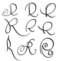 set of art calligraphy letter R with flourish of vintage decorative whorls. Vector illustration EPS10