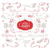 Winter set of decorative calligraphic elements Merry Christmas, dividers and new year ornaments for page decor. Vector lettering