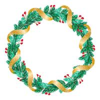 green Christmas vector wreath with golden ribbon and decorations on white background with place for text