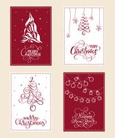 set of Christmas holiday illustration with calligraphy text Merry Christmas and Happy New Year vector