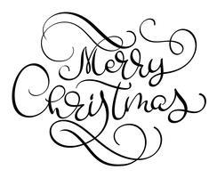 Modello di carta di disegno di iscrizione di calligrafico del testo di vettore di Buon Natale. Tipografia creativa per il manifesto del regalo di saluto di festa. Banner stile font calligrafia