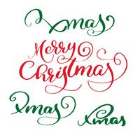 El texto caligráfico de las letras del vector rojo de la Feliz Navidad y el sistema de Navidad ponen verde el texto para las tarjetas de felicitación del diseño. Cartel de regalo de saludo de vacaciones. Caligrafía moderna de fuentes