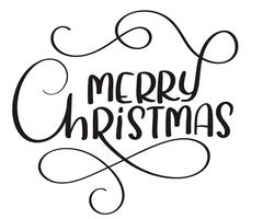 Merry Christmas calligraphy text on white background. Hand drawn lettering Vector illustration EPS10