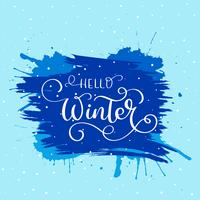 Hello winter text. Christmas vector card design with custom calligraphy. Winter xmas season cards, greetings for social media
