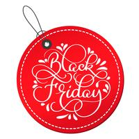 Black Friday calligraphy text on red round tag. Hand drawn lettering Vector illustration EPS10