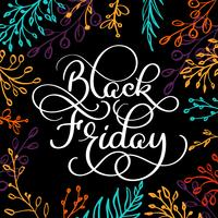 Black Friday calligraphy text on black brush colorwater background with branches frame. Hand drawn lettering Vector illustration