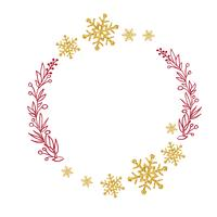 red wreath with tree branches and gold snowflakes. Vector illustration